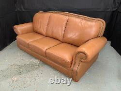 EB1186 Tan Leather HIgh-Backed Three-Seater Sofa Vintage Couch Retro Settee