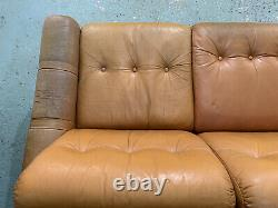 EB1211 Orange Tan Leather Three-Seater Sofa Couch Mid-Century Modern Settee