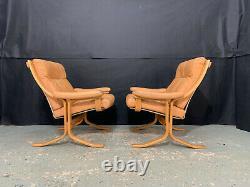 EB1215 Pair of Danish Beech & Tan Leather Lounge Chairs Mid Century Modern Retro