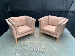 EB1742 Pair of Danish Durup Tan Suede Lounge Chairs Mid Century Vintage Retro
