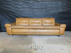 EB649 Tan Leather Three-Seater Sofa Danish Vintage Retro Settee Mid-Century