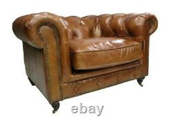 Earle Chesterfield Club Chair Vintage Tan Distressed Real Leather