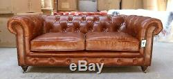Earle Chesterfield Sofa Vintage Tan Brown Leather Tufted Buttoned 2 Seater