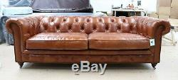 Earle Chesterfield Sofa Vintage Tan Leather Tufted Buttoned 3 Seater
