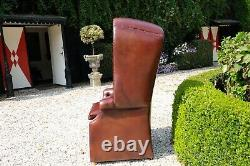 English Vintage Hall Porters Chair, Handdyed Tan Cowhide Leather 160cm / 64 inch