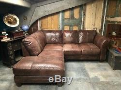 Ex Display 4/5 Seater Corner sofa Tan Leather vintage distress RRP £3k