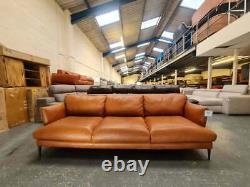 Ex-display Gigi tan vintage brown leather 3 seater sofa