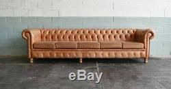 Extra Large 5 Seat Chesterfield sofa In Stunning Vintage Tan Leather