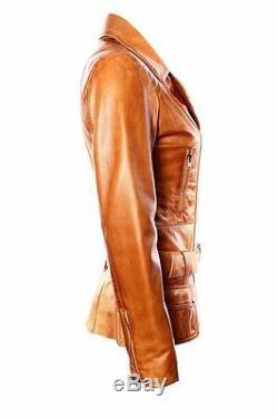 FEMININE Ladies TAN Vintage WASHED Biker Style Designer Real Leather Jacket