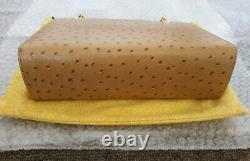 FENDI Vintage Ostrich Leather Handbag in Tan 0074