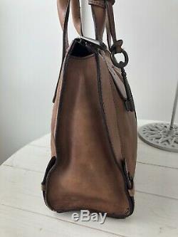 FOSSIL Vintage Reissue Chestnut Tan Leather Satchel Shoulder Handbag Tote Purse