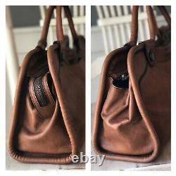 FOSSIL Vintage Reissue RARE Piped British Tan Leather Large Satchel Handbag