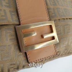 Fendi Baguette Bag Zucca Genuine Vintage Cloth Tan Leather Handle Gold Buckle