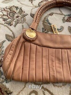 Fendi Tan Leather Should Bag With Braided Handles Gold Hardwear Vintage Authentic