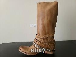 Freebird by Steven Dante Fashion Vintage Distressed Leather High Boot Tan Sz 10