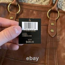 Frye'Lucy' Cognac Brown Vintage Tanned Leather Domed Satchel Shoulder Bag
