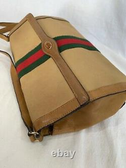 GUCCI Parfums Authentic Beige Canvas and Tan Leather Trim Clutch Shoulder Bag