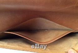 Genuine Vintage GUCCI Tan Brown Leather Gold Medallion Clutch Bag Purse Rare
