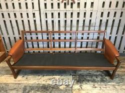 Gimson & Slater 3 Seat Leather Tan Sofa Mid Century Vintage Teak Frame Danish