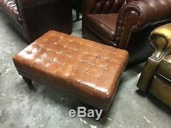 Gorgeous Large Vintage Tan Leather Stool / Ottoman makes Wonderful Coffee Table