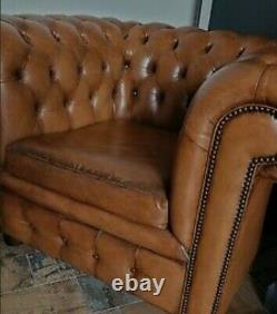 Gorgeous Vintage Studded Chesterfield Leather Armchairs X2 Delivery