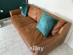 Graham & Green Tan Large Leather Vintage Sofa & Matching Chair