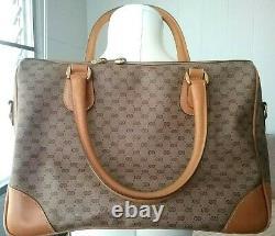 Gucci Micro GG Canvas PVC Tan Leather Medium Tote Doctor Hand Bag Crossbody
