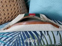 Gucci Vintage Canvas Belt Bag Unisex Web Tan Leather Ophidia 2019