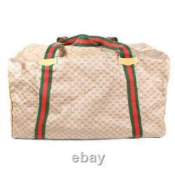Gucci Vintage GG Duffle Bag Tan Canvas Leather Web Stripe Large Shoulder