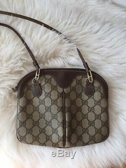 Gucci Vintage Monogram Canvas Ophidia Tan Crossbody Convertible Clutch Bag Brown