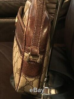 Gucci Vintage tan brown GG Monogram Supreme Canvas Leather Crossbody Bag