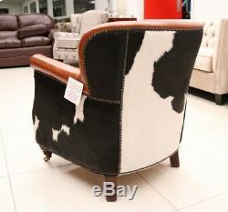 Hair On Hide Tub Club Chair Black Cow Real Vintage Distressed Tan Brown Leather