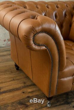 Handmade 1 Seater Rustic Vintage Tan Leather Chesterfield Armchair, Club Chair