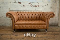 Handmade 2 Seater Vintage Tan Brown Leather Chesterfield Sofa, Settee