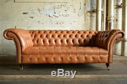 Handmade 3 Seater Real Aniline Vintage Tan Brown Leather Chesterfield Sofa
