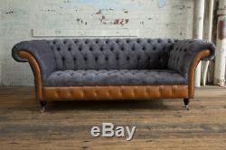 Handmade 3 Seater Slate Grey Velvet & Vintage Tan Leather Chesterfield Sofa