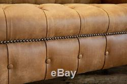Handmade 4 Seater Tan Brown Soft Distressed Vintage Leather Chesterfield Sofa