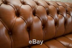Handmade 4 Seater Vintage Dark Tan Leather Chesterfield Sofa, Natural Leather