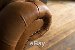 Handmade 4 Seater Vintage Tan Leather Chesterfield Sofa Reflex Cushion Seat
