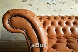 Handmade Vintage Antique Tan Brown Leather Chesterfield Sofa, Settee