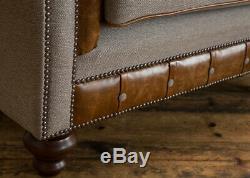 Handmade Vintage Tan Leather & Warm Grey Wool Chesterfield Snuggle Chair