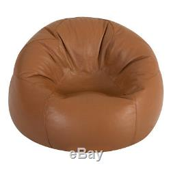 Icon Real Leather Classic Bean Bag Chair X Large Vintage Tan Luxury Beanbag