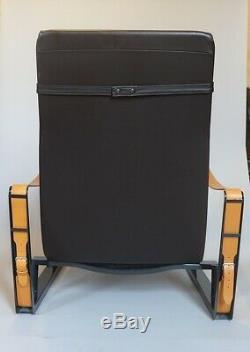 Jean Prouve Cite armchair for Vitra Black Frame Premium Brown Leather Tan Straps