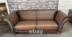 John Lewis Chesterfield Ranch Brown Tan Distressed Leather 3 Seat Sofa WEDELIVER
