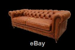 John Lewis Style' Vintage Tan Leather Chesterfield Large Sofa New RRP £2199