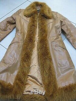 Ladies vintage tan TALC real leather fur COAT UK 8 6 retro penny lane afghan