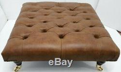 Large Chesterfield Footstool Table 100% Italian Vintage Tan Leather