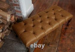 Large Chesterfield Queen Anne Footstool in Vintage Tan Leather Handmade in UK