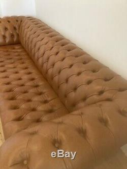Large Handmade 4 Seater Vintage Tan Brown Leather Chesterfield Sofa