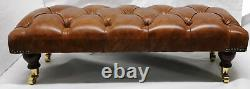Large Slim Rectangular Chesterfield Footstool Table 100% Vintage Tan Leather